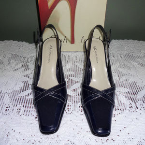 Navy leather Anne Klein slingback heels 8M